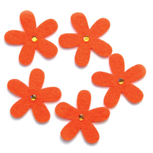 Jeweled Orange Felt Flowers