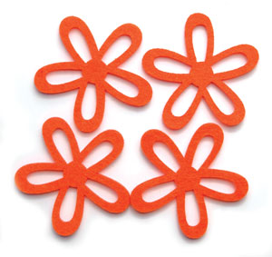 Large Orange Felt Flowers