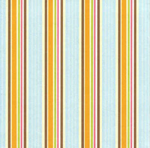 Aqua & Orange Ticking Stripes